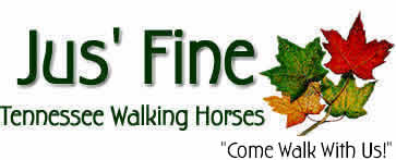 colorful logo with autumn leaves and the name of the farm, Jus' Fine Tennessee Walking Horses